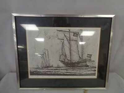 Marine Lithograph/Print Of A Ketch & Sir Winston Churchill Schooner 1973  (Fe)