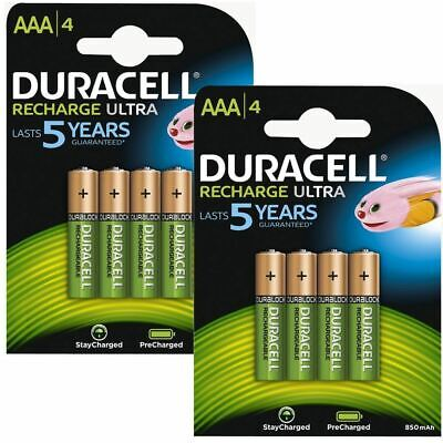 Duracell 850mAh Pre Charged Rechargeable AAA Batteries - 2 x Pack of 4