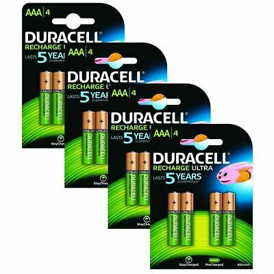 Duracell 850mAh Pre Charged Rechargeable AAA Batteries - 4 x Pack of 4