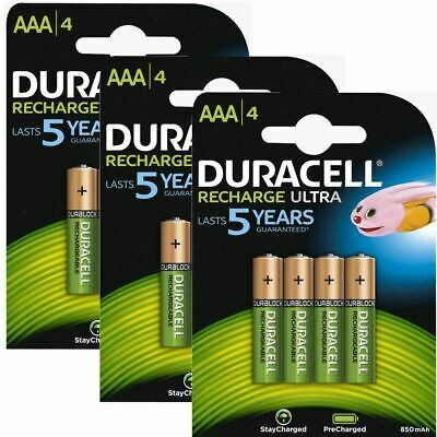 Duracell 850mAh Pre Charged Rechargeable AAA Batteries - 3 x Pack of 4