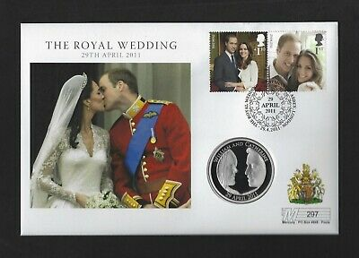 William + Kate UK Royal Wedding Sterling Silver Proof £5 2011 Coin Cover