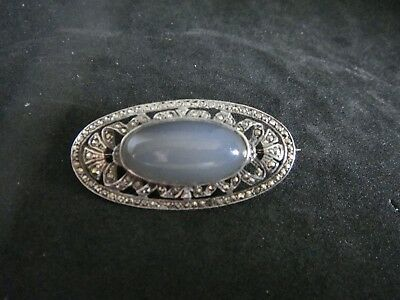 Fine Antique Art Deco Natural Blue Chalcedony & Silver & Marcasite Brooch Pin