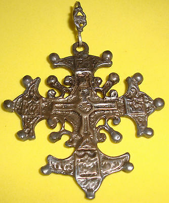 Antique(1920) Silver 800 (Gold Wash) Cross Pendant, Cellini Shop Florence Italy