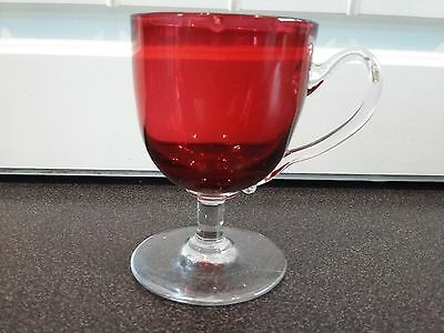 Mid Victorian 19th Century Cranberry Glass Custard Cup c1870