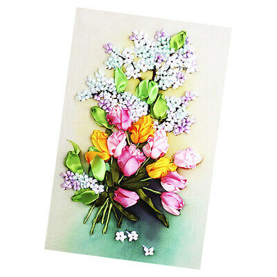 Handmade Ribbon Embroidery Kits DIY Tulip Bouquet Painting Wall Decoration