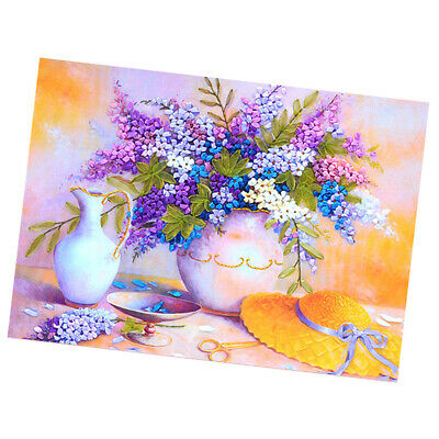 Handmade Ribbon Embroidery Kits DIY Lilac Bouquet Painting Wall Decoration