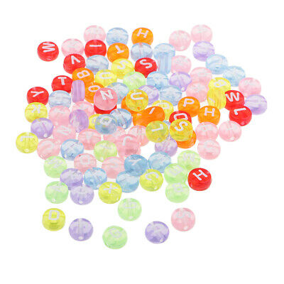 100x Mixed Color Round Letters Printed Resin Loose Beads for Art Craft 7mm