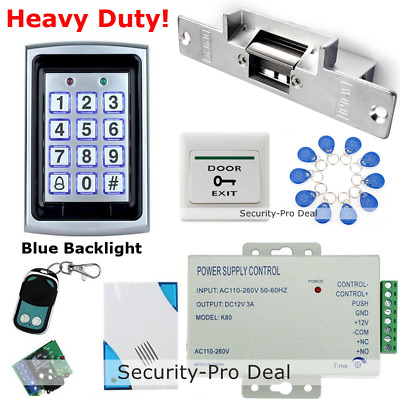 RFID Card+Password Door Access Control+Electric Strike Lock+Doorbell+Remote+Exit