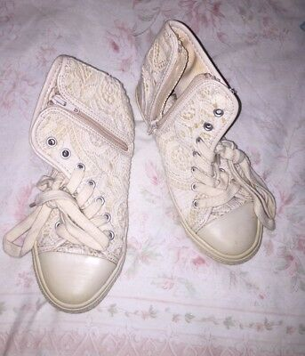 Zara Girls Lace Look Trainer Ankle Boots Size 11