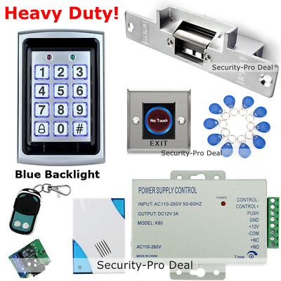 RFID Card+Password Door Access Control+Door Strike Lock+Doorbell+Remote+IR Exit