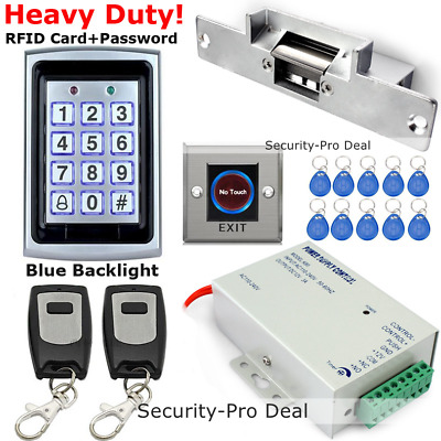 RFID Card+Password Door Access Control + Door Strike Lock + 2PCS Remote Controls