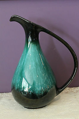 """Vintage Bmp Blue Mountain Pottery Canada Handled 10-1/2"""" Jug With Green Glaze"""