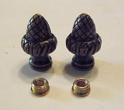 """2 Antique Brass Plated Acorn Finial 1/8"""" IPS (3/8"""" Dia)/Lamp Harp Reducers (FA1)"""