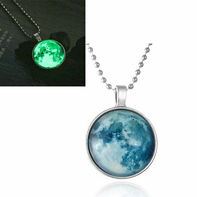 Elegant Charm Glow in the Dark Time Luminous Moon Chain Pendant Necklace Jewelry