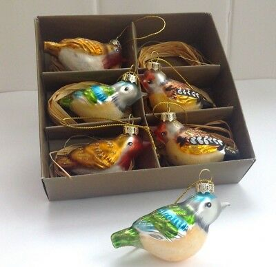Set 6 Boxed Vintage Retro Style Glass Bird Christmas Tree Decorations Baubles