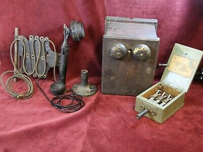 Antique Telephone, Western Electric, Railroad Scissor Style Candlestick and Ring