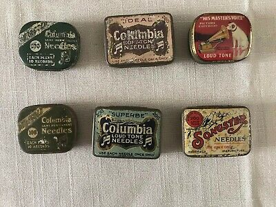 6 Gramophone Record Needle Tins 4 Columbia 1 HMV and 1 Songster