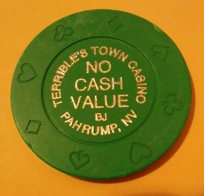 Terribles Town Casino Pahrump, Nevada Hard To Find Green No Cash Value Chip!