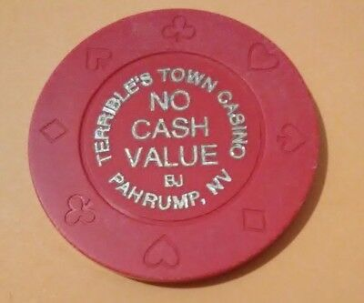Terribles Town Casino Pahrump, Nevada Hard To Find Red No Cash Value Chip!
