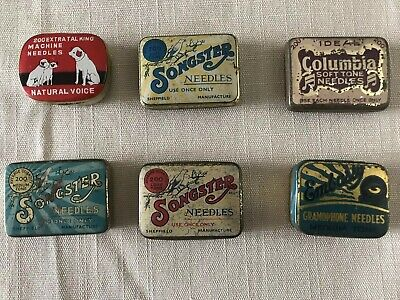 6 Gramophone Record Needle Tins 1Columbia 1 HMV 3 Songster and 1 Embassy