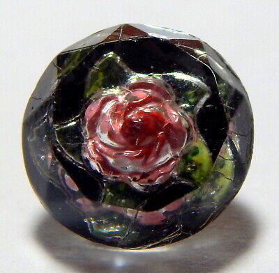 LOVELY ANTIQUE 19th CENTURY FACETED GLASS PAPERWEIGHT BUTTON w/ROSE