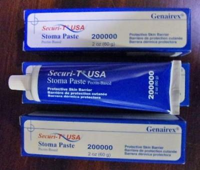 Genairex Lot of 3 Securi-T USA Stoma Paste Pectin Based 200000 New 2 oz Tubes