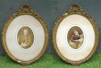 Pair of Victorian Antique Gilded Gesso Frames - Photographic Portraits.