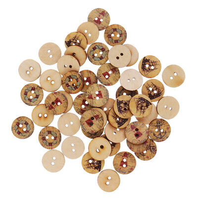 50pcs Mixed Wood Round 2 Hole Sailing Buttons for Sewing Scrapbooking 15mm