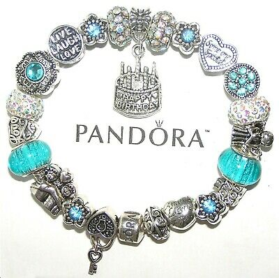 Authentic Pandora Bracelet Silver With BIRTHDAY AQUA BLUE, LOVE European Charms