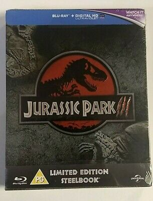 Jurassic Park III 3 - Limited Edition Steelbook - Blu-Ray + Digital - New/Sealed