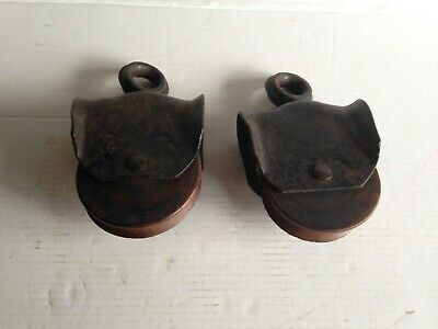 2 Matching Antique Cast Iron & Wood Pulleys Primitive Barn Rustic Decor