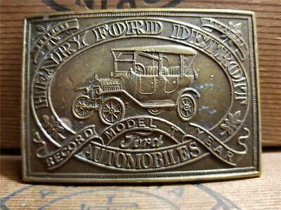 Vtg 1970s Henry Ford Detroit Automobiles Record Model Year Brass Belt Buckle A