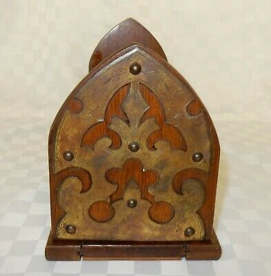 Vintage Ecclesiastical Mahogany & Brass Desktop Book Slide Stand Shelf (B)