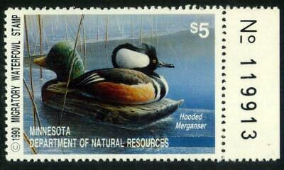 Scott # MN14 Duck 1990 MINNESOTA $5 Hooded Merganser MNH $25 SEE PHOTOS E-467