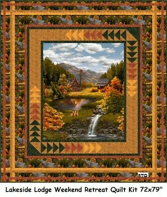 Lakeside Lodge Weekend Retreat quilt kit Timeless Treasures Farm House Windmill