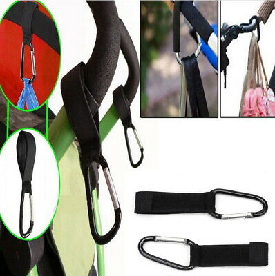 2/4 PC Pram Hook Baby Stroller Shopping Bag Clip Carrier Carabiner Nylon Hangers