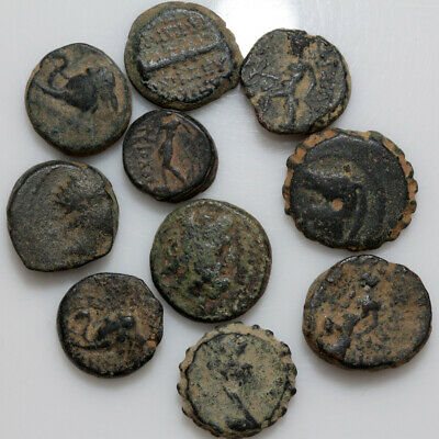 Nice Lot Of 10 Ancient Greek Bronze Coins Circa 150-50 Bc