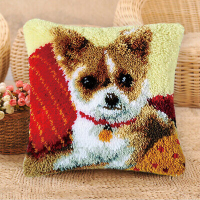 DIY Latch Hook Cushion Kits for Beginners Embroidery Animals Dogs Cat Pattern