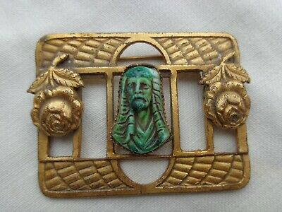 Vintage Egyptian Revival Art Deco Molded Glass Figural Max Neiger Pin Old Estate