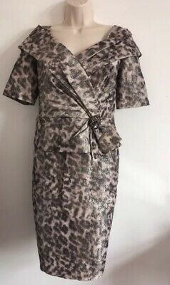 ISPIRATO Gorgeous Detailed Special Occasion Dress  Greys & Dusty Pink Size 16 14
