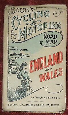 BACON'S CYCLING & MOTORING LINEN BACKED ROAD MAP OF ENGLAND & WALES -EARLY 20thC