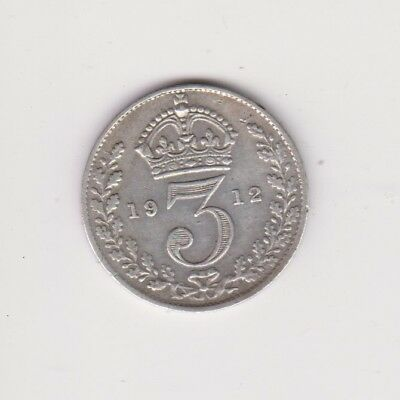 1912 Solid Silver Threepence Coin TITANIC Ship Cruise Liner Boat London.L.202