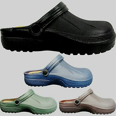 Mens Gents Slip On Lightweight Mules Clogs Shoes Summer Beach Size Work Chef