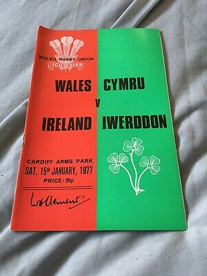 1977-Wales V Ireland-5 Nations-Triple Crown-International Rugby Programme