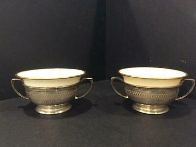 Two Antique Lenox Bouillon Soup Bowls / Cups in Sterling Silver Whiting Holders