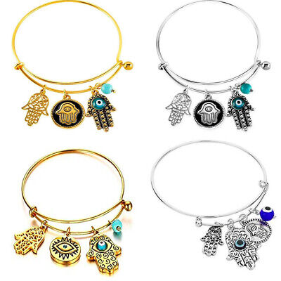 Mystery Bag - Set of Four Bangles in Brass (Hamsa Turkis Evil Eye Bracelet)