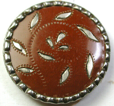BB Antique Victorian Celluloid Button w Metal Leaf Protrusions Design 15/16""