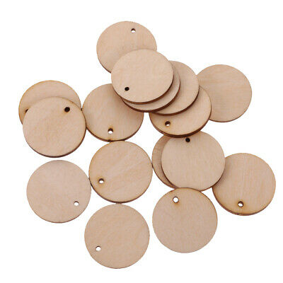 100pcs Unfinished Blank Wood Pieces Round Hanging Gift Tags with Hole 30mm
