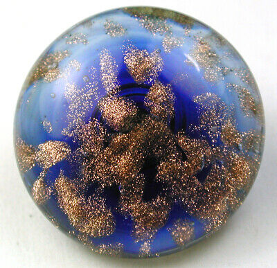 BB  Antique Paperweight Glass Button Cobalt & Goldstone - 11/16 Swirl Back