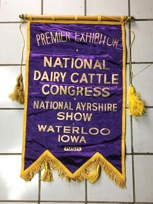 Ayrshire Cow Vintage Banner 1958 National Dairy Cattle Show Award Waterloo Iowa